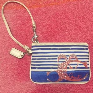 Coach Red White Blue Wristlet Beach Vibes